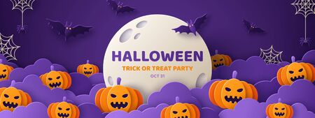 Happy Halloween banner or party invitation background with night clouds and pumpkins in paper cut style. Vector illustration. Full moon in the sky, spiders web and flying bats. Place for text Illustration