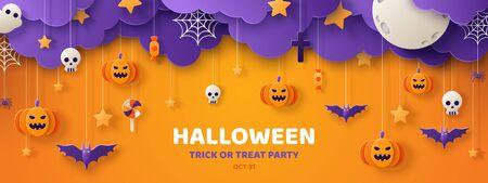 Happy Halloween Banner oder Party Einladung Hintergrund mit Wolken, Fledermäusen und Kürbissen im Papierschnitt-Stil. Vektor-Illustration. Vollmond am Himmel, Spinnennetz und Sterne. Platz für Text