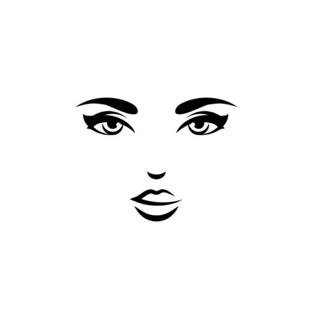 Black female icon with open eyes  イラスト・ベクター素材