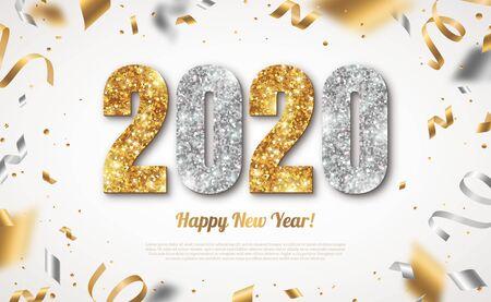 Banner di felice anno nuovo con numeri oro e argento 2020 su sfondo luminoso con coriandoli volanti e stelle filanti. Illustrazione vettoriale Vettoriali