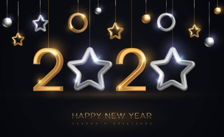 2020 New Year baubles with star Ilustracja