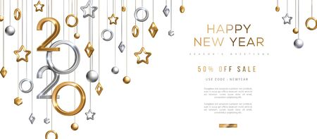 Christmas and New Year banner with hanging gold and silver 3d baubles and 2020 numbers on black background. Vector illustration. Winter holiday geometric decorations Banque d'images - 129398282