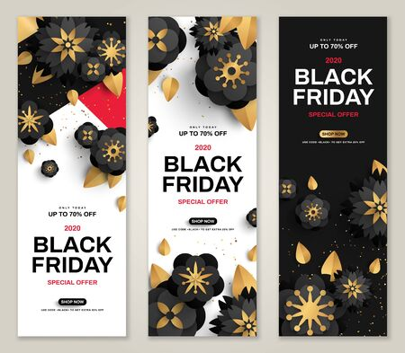 Black Friday sale banners set  イラスト・ベクター素材