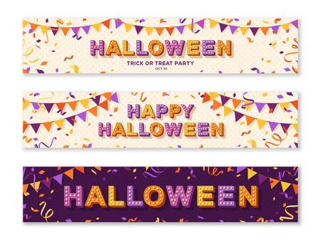 Happy Halloween horizontal banners or greeting cards design with confetti and bunting. Vector illustration. Place for text
