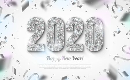 Happy New Year Banner with Silver 2020 Numbers on Bright Background with Flying Confetti and Streamers. Vector illustration
