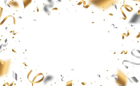 Falling shiny golden and silver confetti and pieces of serpentine isolated on white background. Bright festive overlay effect with gold and gray tinsels. Vector illustration Foto de archivo - 129398286