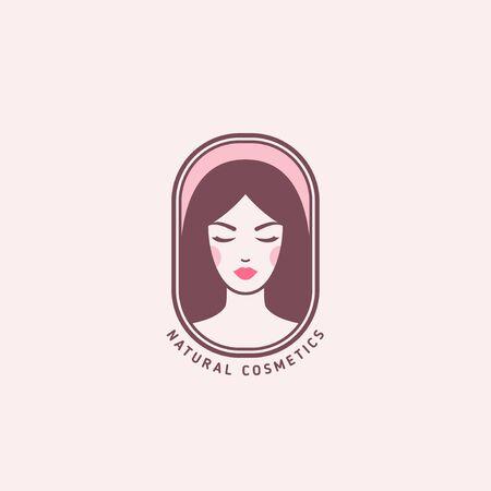 Woman face emblem pink