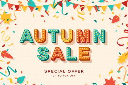 Autumn sale vector banner template. Seasonal shopping event, special discount offer. Gift coupon, fall wholesale cartoon poster layout. Paper garlands and leaves flat illustration with lettering  イラスト・ベクター素材