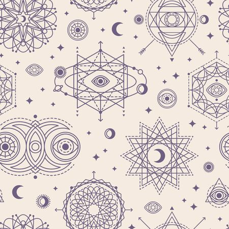Pattern with Sacred Geometry Forms Иллюстрация