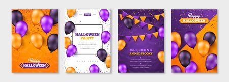 Happy Halloween balloon posters 版權商用圖片 - 129766291