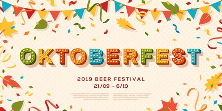 Oktoberfest banner vector template. Seasonal event, german beer festival advertising poster layout. Traditional cultural fest. Paper garland, leaves and confetti flat illustration with text space