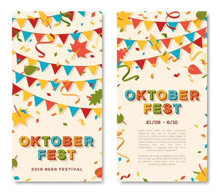 Oktoberfest brochure vector template. Autumn season event, traditional german funfair invitation, flyer layout. Annual beer fair. Festive garland and confetti flat illustration with text space