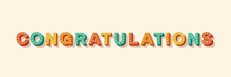 Congratulations vector lettering. Greeting card, postcard decorative text with light bulbs. Birthday celebration, special occasion congrats. Marquee, carnival style typography. Positive message
