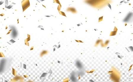 Falling shiny golden and silver confetti and pieces of serpentine isolated on transparent background. Bright festive overlay effect with gold tinsels. Vector illustration  イラスト・ベクター素材
