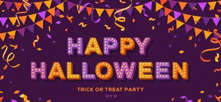 Happy Halloween on violet banner