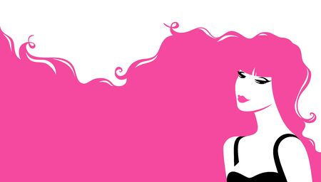 Fashion Woman with Pink Hair  イラスト・ベクター素材