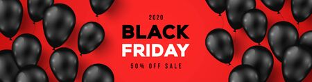 Black Friday Sale Horizontal Banner with Dark Shiny Balloons on Red Background with Place for text. Vector illustration. Vettoriali