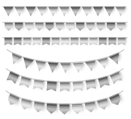 Silver garlands 3d illustrations set. Realistic holiday decor isolated on white background. Grey striped triangles, polka dot flags hanging on ropes. Stylish party, festive event decorative elements