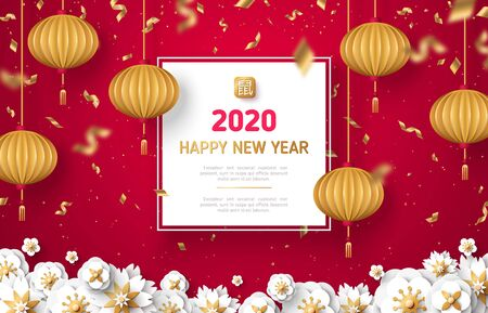 White paper cut flowers, gold confetti and lanterns on red background for 2020 Happy Chinese New Year. illustration with square frame and place for text. Hieroglyph means Rat 일러스트