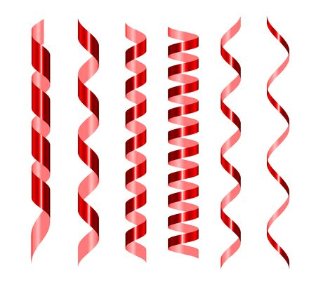 Red serpentine realistic set. Glowing spiral vector tape . Shiny confetti for wrapping paper, postcards, presents decoration. Festive ribbons border. 3d design element isolated on white background 일러스트
