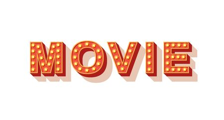 Movie vector typography. Cinema neon marquee text. Vintage style lettering with orange neon light bulbs. Retro volumetric letters isolated on white background. 3d signboard design element 일러스트