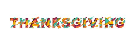 Happy Thanksgiving Day typography design isolated on white background.  Seasonal lettering in paper cut style. 일러스트