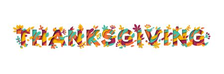 Happy Thanksgiving Day typography design isolated on white background. Vector illustration. Seasonal lettering in paper cut style with abstract shapes and floral icons, leaves and berries.