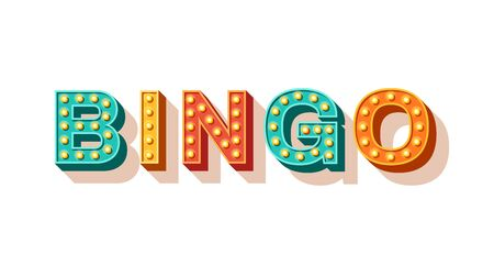 Bingo vector typography. Lottery retro glowing lettering. Game of chance and casino concept. Sparkly 3d signboard with neon light bulbs. Vintage volumetric letters isolated on white background 일러스트