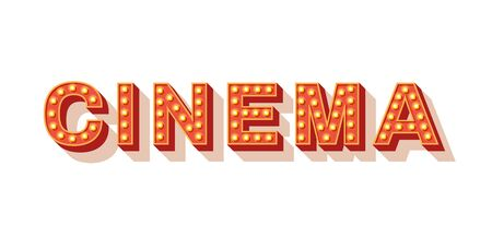 Cinema vector typography. Movie neon marquee text. Retro style lettering with golden light bulbs letters isolated on white background. 3d shiny signboard design element. Vintage volumetric letters 일러스트