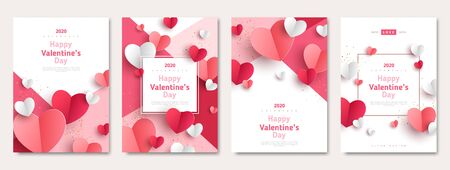 Valentine's day concept posters set. 3d red and pink paper hearts with frame on geometric background. Cute love sale banners or greeting cards