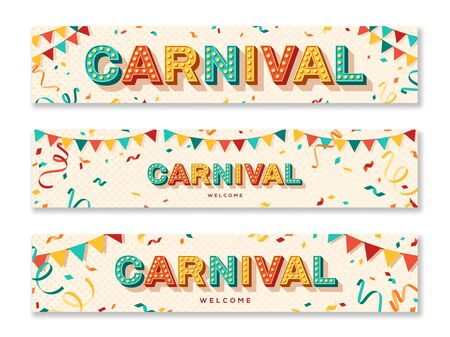 Carnival horizontal banners with typography design. Retro light bulbs font, streamers, confetti and hanging flag garlands.