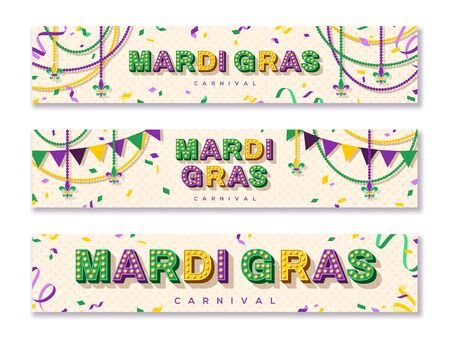 Mardi Gras horizontal banner with typography design. illustration with retro light bulbs font, streamers, confetti and hanging garlands
