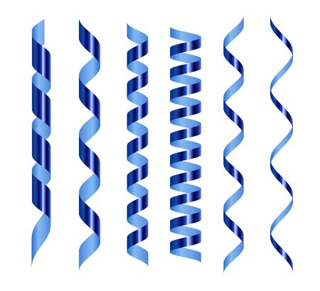 Blue serpentine set. Festive glossy metallic ribbons pack. Spiral tape for holidays decoration. Different size confetti. 3d realistic design elements for greeting cards, postcards, wrapping paper