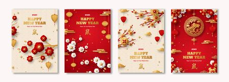Posters Set for 2020 Chinese New Year. Hieroglyph translation - Rat. Clouds, Lanterns, Gold Pendant and Red Paper cut Flowers on Sakura Branches.