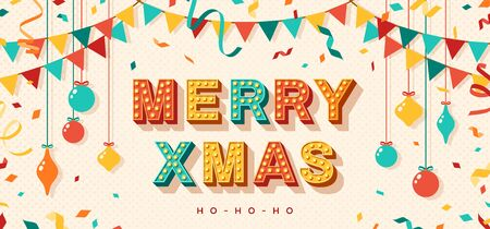 Merry Xmas card or banner with typography design. illustration with retro light bulbs font, streamers, confetti and hanging baubles.
