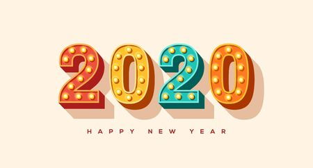 2020 card or banner with typography design. Numbers of retro light bulbs font. Minimal invitation for Merry Christmas and Happy New Year.