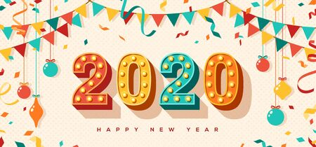 Happy New Year 2020 card or banner with typography design. illustration with retro light bulbs font, streamers, confetti and hanging baubles.  イラスト・ベクター素材