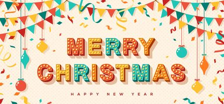 Merry Christmas card or banner with typography design. illustration with retro light bulbs font, streamers, confetti and hanging flag garlands.