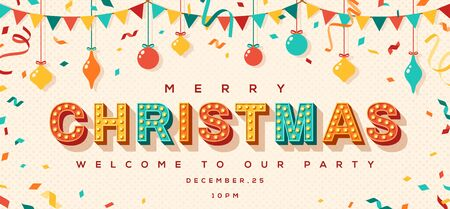 Merry Christmas card or invitation with typography design. illustration with retro light bulbs font, streamers, confetti and hanging flag garlands. 일러스트
