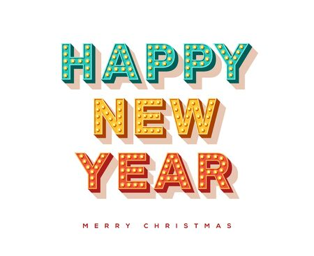Happy New Year card or banner with colorful typography design. illustration with retro light bulbs font.