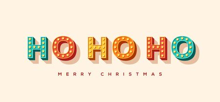 Ho ho ho and Merry Christmas card or banner with colorful typography design. illustration with retro light bulbs font. 일러스트