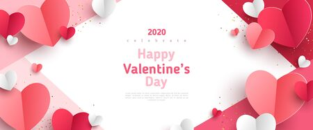 Valentines day concept frame.  3d red and pink paper hearts on geometric background. Cute love sale banner or greeting card