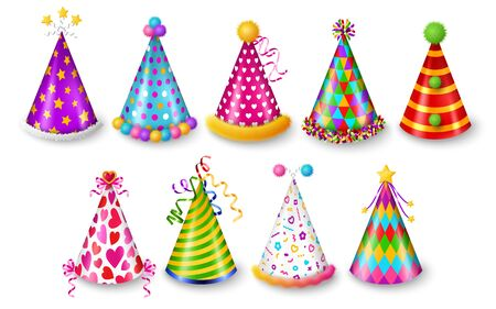 Set of party hats isolated on white background, New year and Carnival celebration elements. Vector illustration. Colorful caps with patterns, funny holidays design