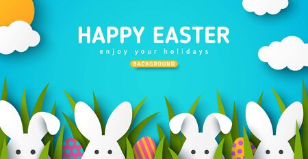 Easter card with white bunny rabbits, colorful eggs and green grass. Blue sky background with sun and clouds in paper cut style. Vector illustration. Place for your text.