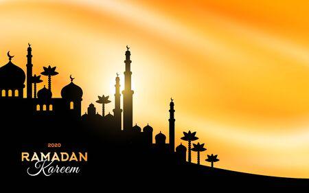 Arabian city silhouette at sunset Illustration