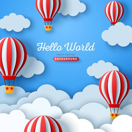 Beautiful fluffy clouds on blue sky background with hot air balloons. Vector illustration. Paper cut style. Place for text. Travel and adventure concept