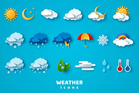 Paper cut weather icons set on blue background. Vector illustration. White clouds, dew on leaves, fog sign, day and night for forecast design. Winter and summer symbols, sun and thunderstorm stickers. Ilustración de vector
