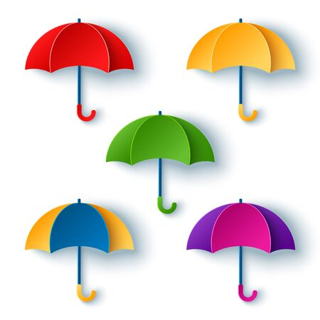 Set of opened umbrellas