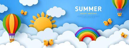 Summer banner with air balloons Ilustração Vetorial