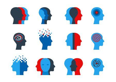 Set of human head with brain